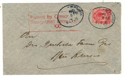 SOUTH WEST AFRICA - 1916 1d rate PASSED BY CENSOR/100 local cover used at WINDHOEK.