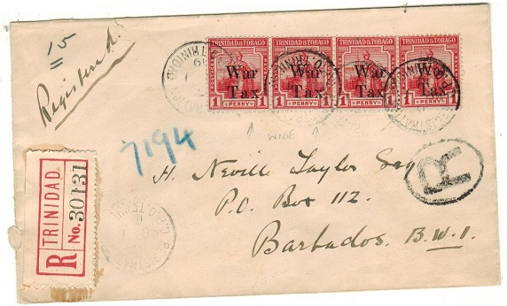 TRINIDAD AND TOBAGO - 1919 1d (x4)