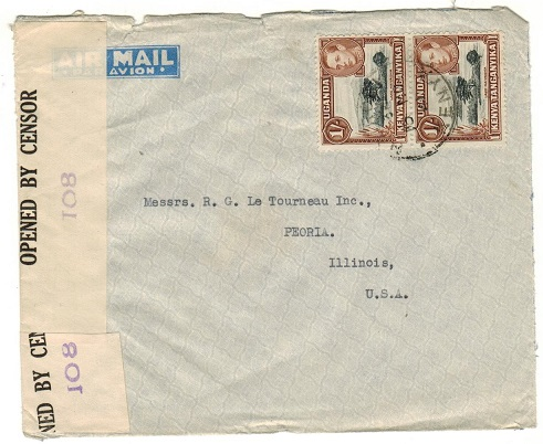 K.U.T. - 1941 2/- rate censor cover to USA used at NAIROBI.