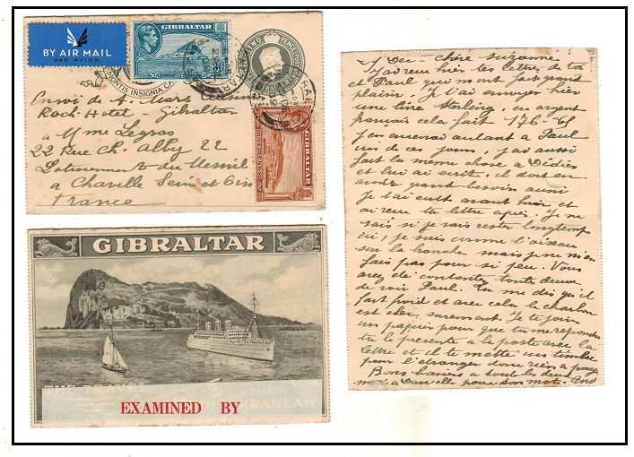 GIBRALTAR - 1938 2d grey illustrated uprated and censored