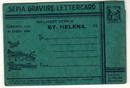 ST.HELENA - 1930 (circa) 6 view letter card envelope. Issue number 1.