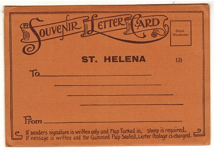 ST.HELENA - 1930 (circa) 6 view letter card envelope. Issue number 2.
