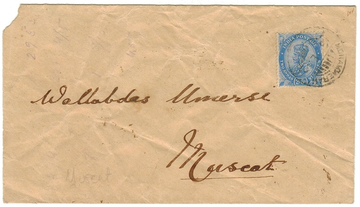 BR.P.O.IN E.A. (Mohammera) - 1913 2a6p rate cover to Muscat used at MOHAMMERA.