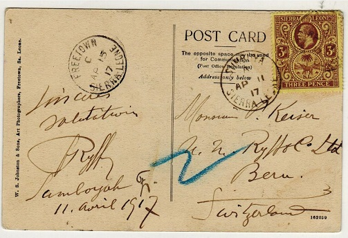 SIERRA LEONE - 1917 3d rate postcard use to Switzerland used at SULIMA.