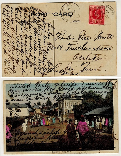 SIERRA LEONE - 1910 1d rate postcard use to Switzerland used at MOYAMBA.