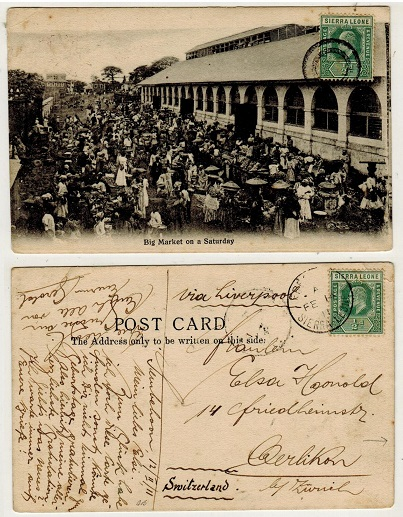 SIERRA LEONE - 1911 1d rate postcard use to Switzerland from Sembehu with concentric circle strike.