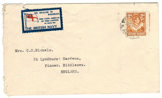 NORTHERN RHODESIA - 1941 2d rate cover to UK with