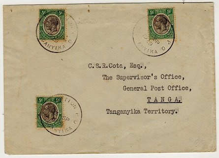 TANGANYIKA - 1929 15c rate local cover used at EXHIBITION P.O.