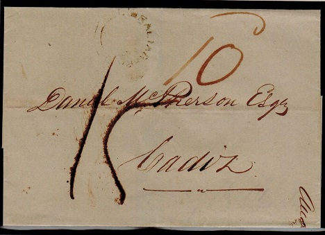 GIBRALTAR - 1849 outer wrapper to Cadiz struck by scarce GIBRALTAR PAID double arc h/s.