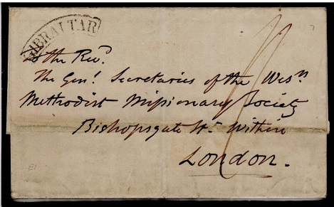 GIBRALTAR - 1842 outer wrapper to UK struck by