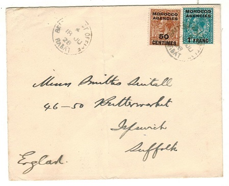 MOROCCO AGENCIES - 1928 1F50c cover to UK used at RABAT.