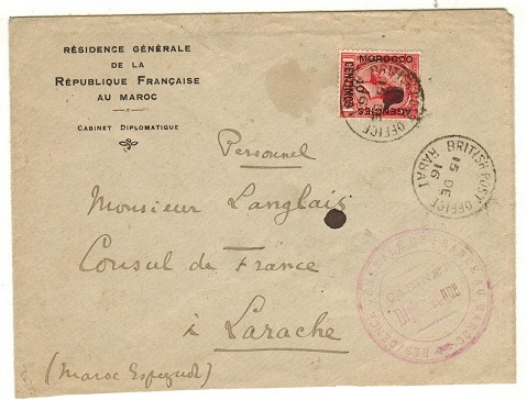 MOROCCO AGENCIES - 1916 10c on 1d local cover used at RABAT.
