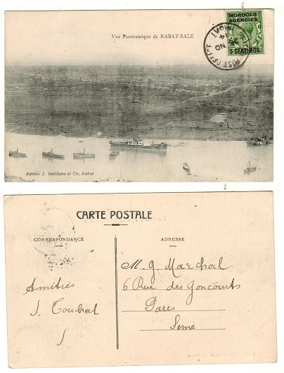 MOROCCO AGENCIES - 1914 5c on 1/2d rate postcard to France used at RABAT.