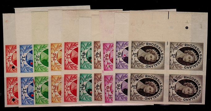 RHODESIA AND NYASALAND - 1954 set of 10 (SG 1-9) in IMPERFORATE PLATE PROOF blocks of four.
