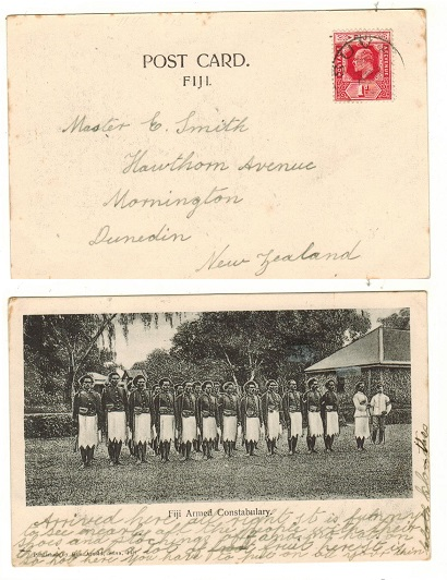 FIJI - 1909 1d rate postcard to New Zealand.