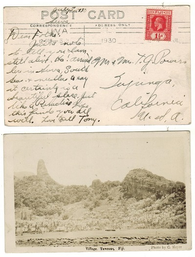 FIJI - 1930 1 1/2d rate postcard to USA.