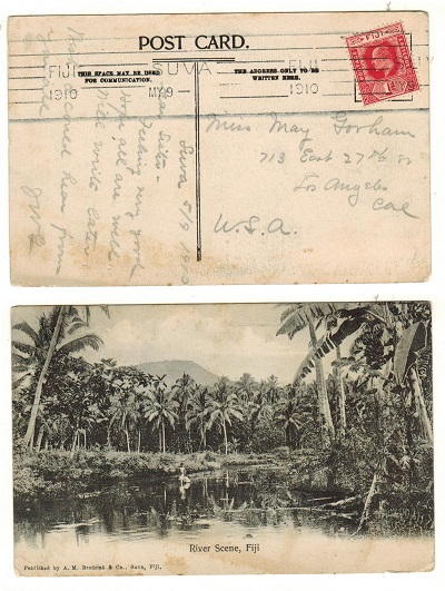 FIJI - 1910 1d rate postcard to USA.