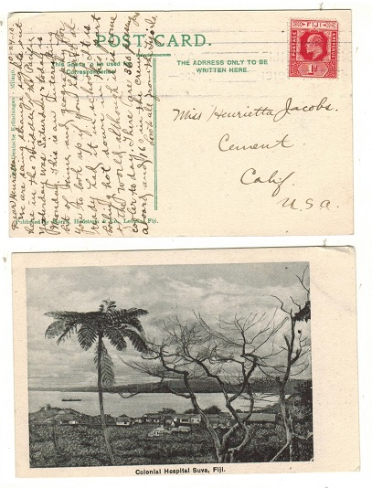 FIJI - 1910 1d rate postcard use to USA.