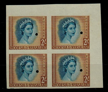 RHODESIA AND NYASALAND - 1954 2/- IMPERFORATE PLATE PROOF block of four.