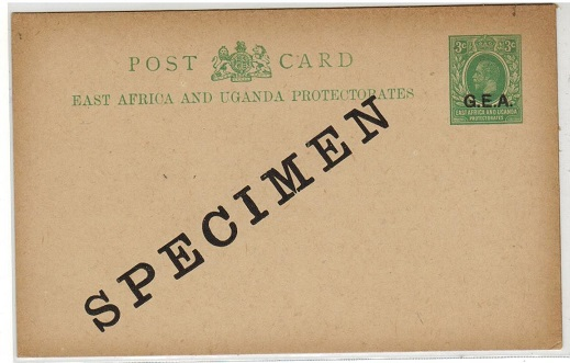 TANGANYIKA - 1917 3c green PSC unused struck SPECIMEN in black.  H&G 1.