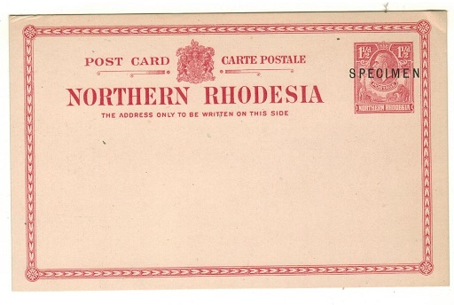 NORTHERN RHODESIA - 1924 1 1/2d carmine rose PSC unused and struck SPECIMEN in black.  H&G 2.