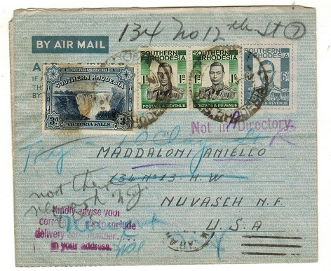 SOUTHERN RHODESIA - 1944 6d grey AIR LETTER uprated to USA from inmate of Camp 3.  H&G 1.