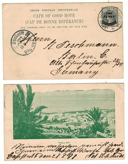 CAPE OF GOOD HOPE - 1897 1d on 1 1/2d grey PSC to Germany with