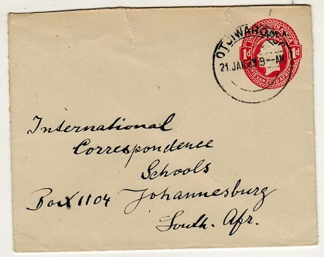 SOUTH WEST AFRICA - 1927 1d red PSE to Johannesburg used at OTKIWARONGO.  H&G 5.