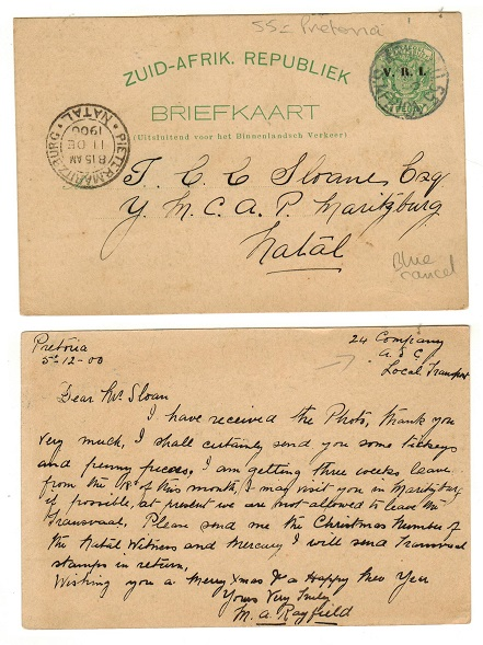 TRANSVAAL - 1896 1/2d green PSC to Natal used at ARMY P.O.55.  H&G 9.