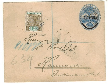 SEYCHELLES - 1901 6c on 15c blue PSE uprated and registered to Germany.  H&G 6.