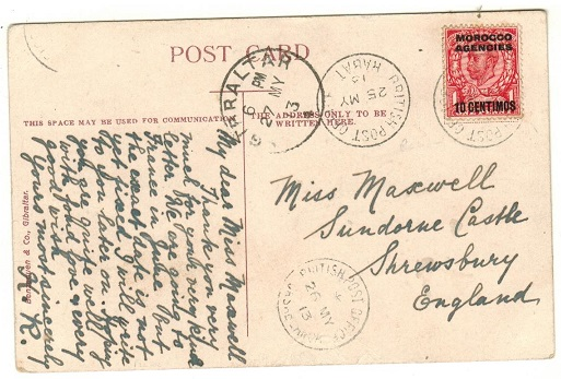 MOROCCO AGENCIES - 1913 1d rate postcard use to UK used at BPO/RABAT.
