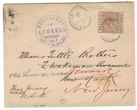 ST.LUCIA - 1892 4d rate cover to USA.