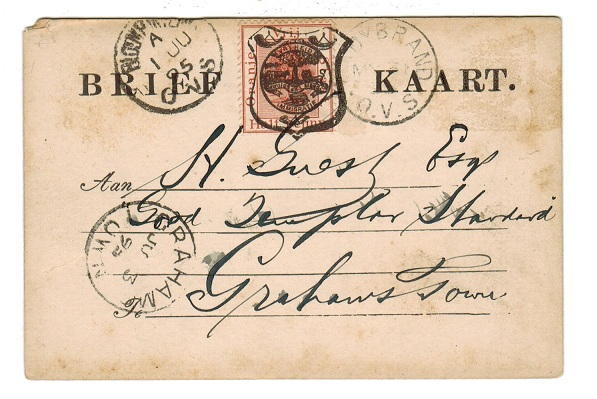 ORANGE FREE STATE - 1894 1/2d brown PSC used from LADYBRAND.  H&G 12.