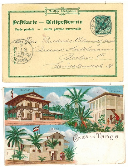 TANGANYIKA (German Offices) - 1898 3pesa on 5pfg green