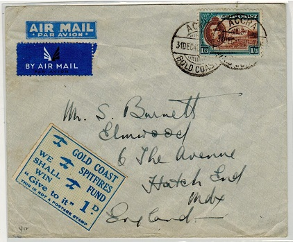 GOLD COAST - 1942 1/3d rate cover to UK with