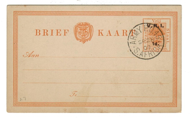ORANGE FREE STATE - 1900 1d on 1d PSC stuck by ARMY P.O.45/SOUTH AFRICA