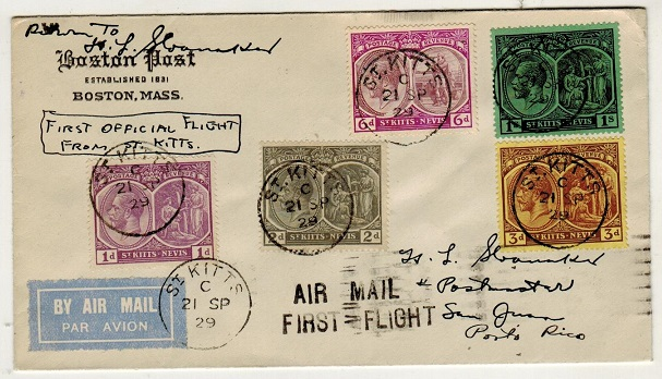 ST.KITTS - 1929 first flight cover to Porto Rico.