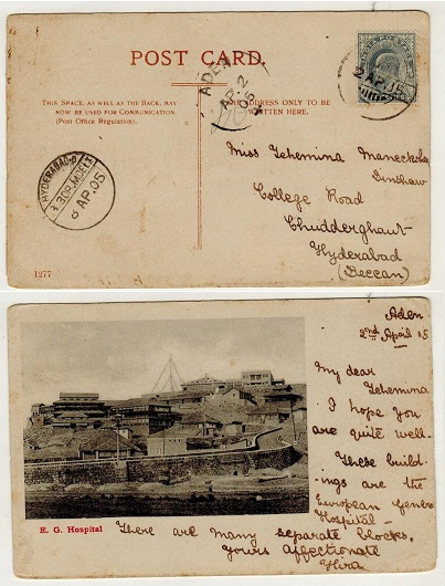ADEN - 1905 3ps rate postcard use to Hyderabad.