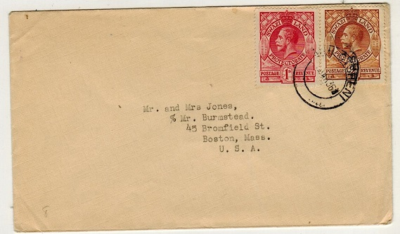 SWAZILAND - 1936 3d rate cover to USA used at MHOTSHENI.
