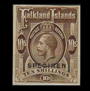 FALKLAND ISLANDS - 1912 10/- IMPERFORATE PLATE PROOF printed in brown overprinted SPECIMEN.