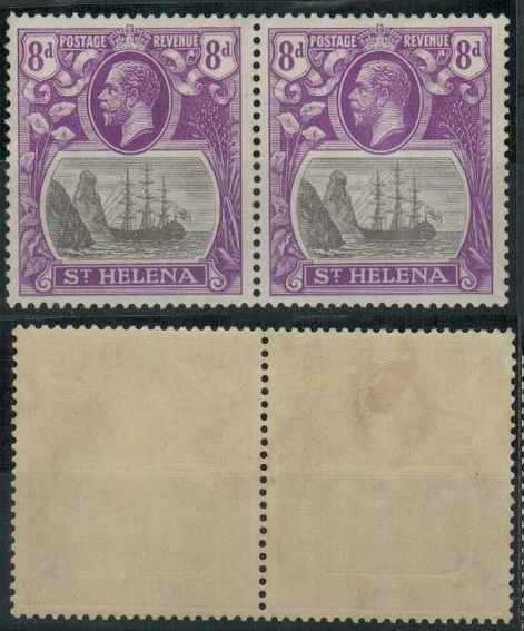 ST.HELENA - 1923 8d grey and bright violet mint pair with TORN FLAG variety.  SG 105b.
