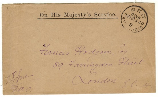 GIBRALTAR - 1919 stampless OHMS cover to UK cancelled GIBRALTAR/OFFICIAL/PAID.
