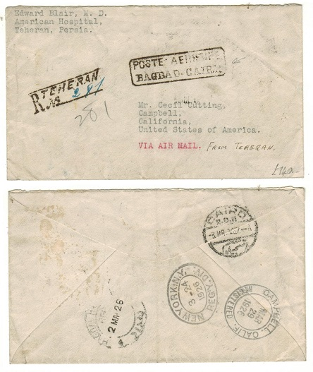 IRAQ - 1926 stampless cover from Iran to USA struck by BAGDAD-CAIRO air strike.