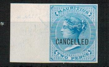 MAURITIUS - 1863 2d blue IMPERFORATE PLATE PROOF struck CANCELLED.