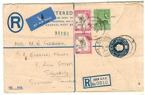 ADEN - 1953 30c dark blue RPSE (size H) uprated to Southern Rhodesia.  H&G 3a.