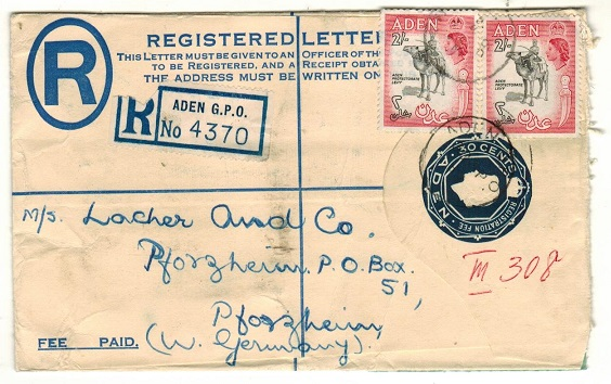 ADEN - 1953 30c dark blue RPSE (size G) uprated to Germany.  H&G 3.