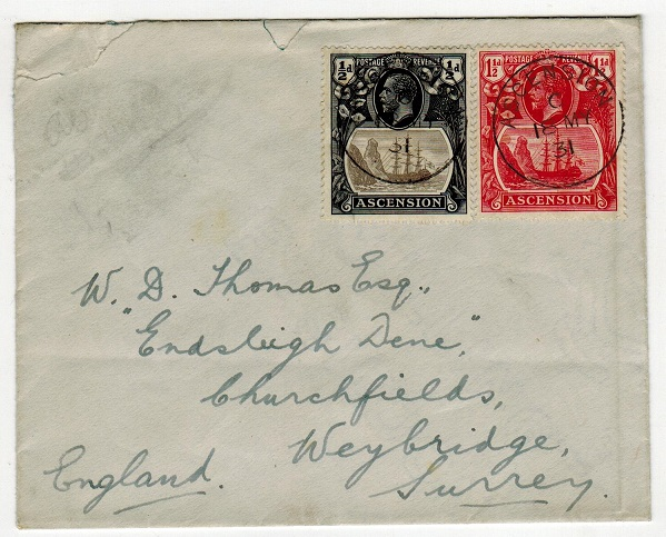 ASCENSION - 1931 2d rate cover to UK.