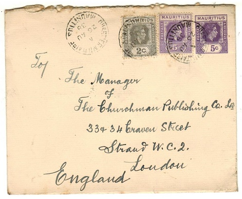 MAURITIUS - 1938 5c violet PSE uprated to UK used at QUARTIER MILITAIRE.  H&G 46.