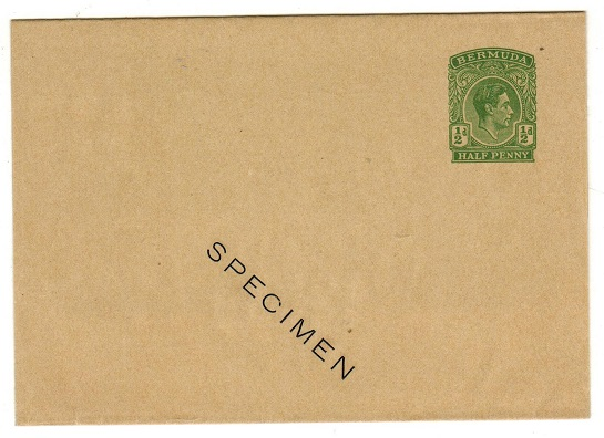 BERMUDA - 1937 1/2d green postal stationery wrapper unused SPECIMEN.  H&G 8.