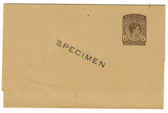 BERMUDA - 1937 1/4d brown postal stationery wrapper unused SPECIMEN.  H&G 7.